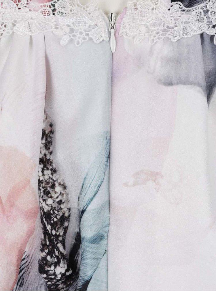 Krémové šaty se zapínáním na knoflíky na zádech Little Mistress