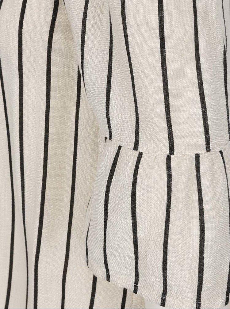Krémová pruhovaná halenka s odhalenými rameny VILA Lopex