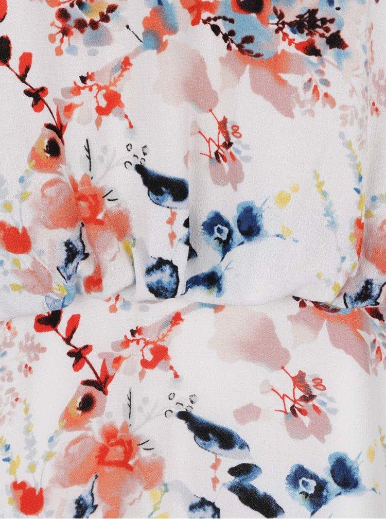 Bílé květované šaty na ramínka VILA Marian
