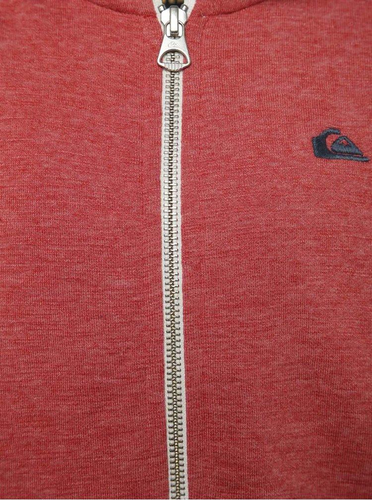 Červeno-modrá žíhaná klučičí mikina s kapucí Quiksilver