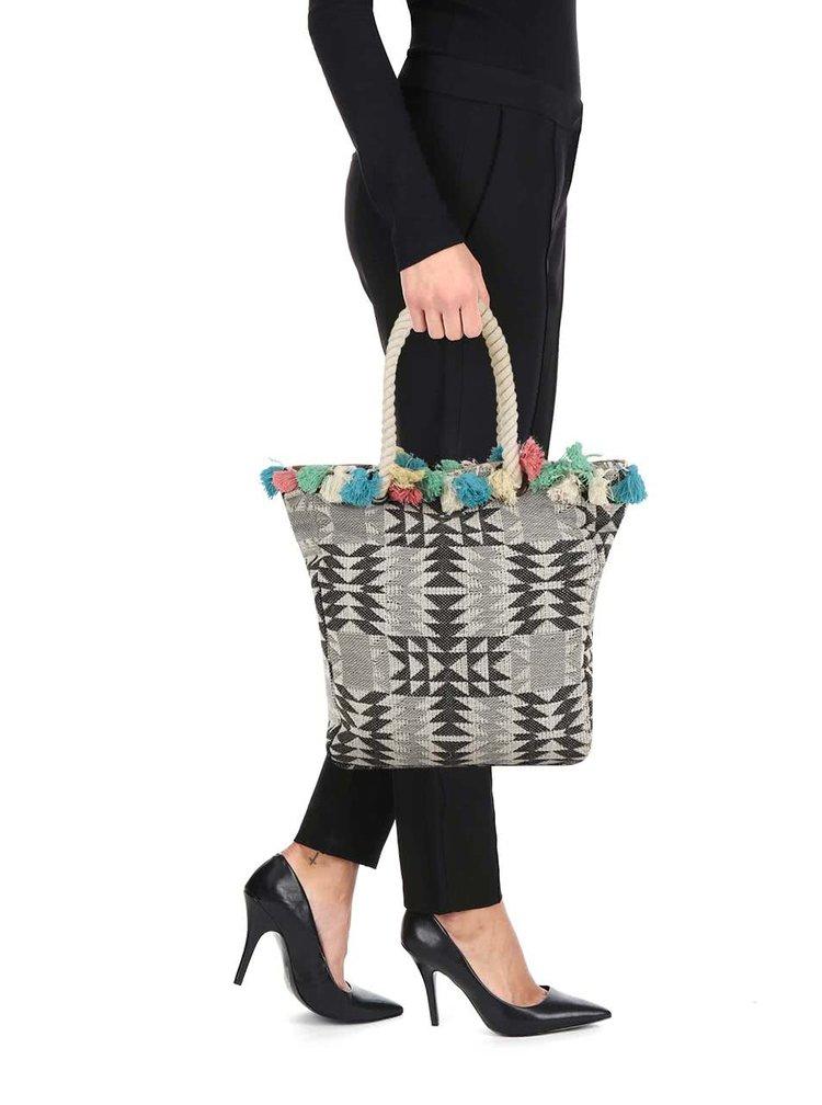 Béžová vzorovaná kabelka s barevnými třásněmi Roxy Silver