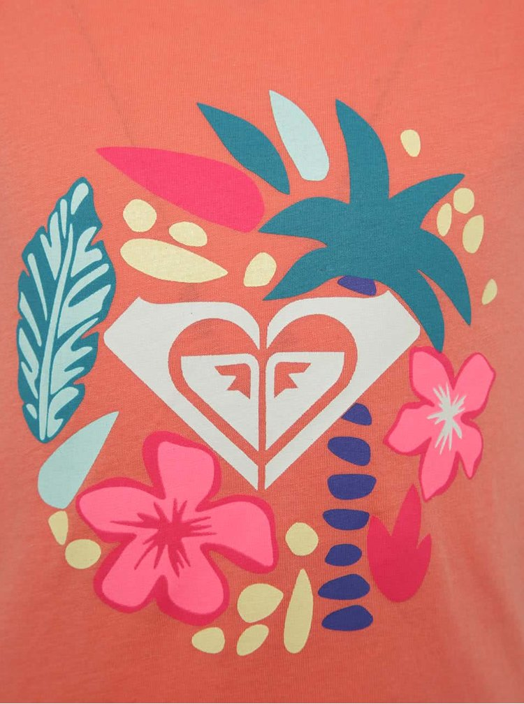 Tricou portocaliu cu print Roxy de fete
