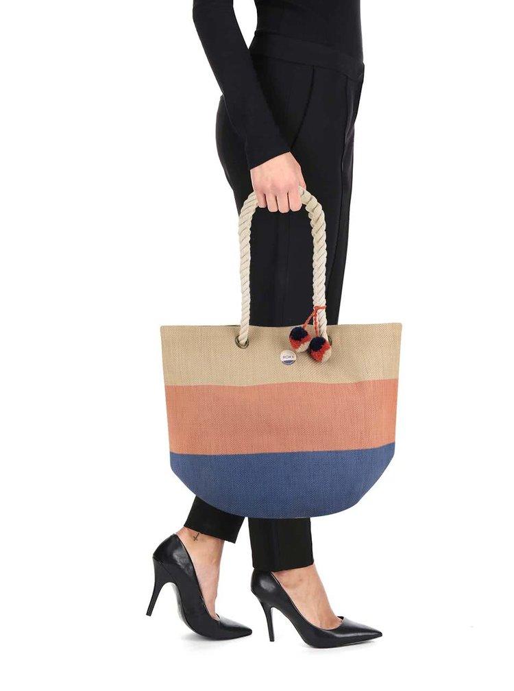 Modro-krémový pruhovaný shopper Roxy Sun Seeker