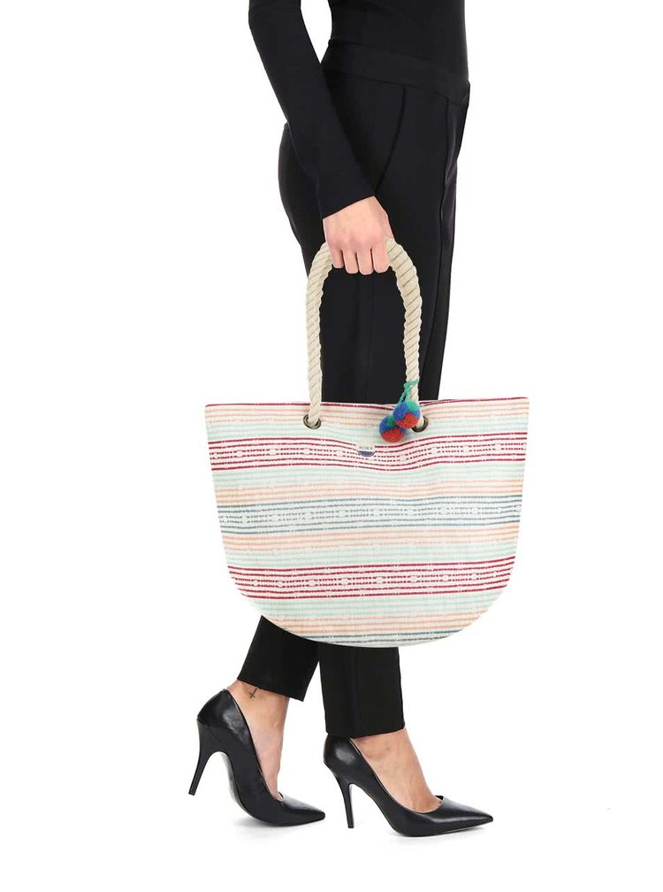 Krémový shopper s barevnými pruhy Roxy Sun Seeker