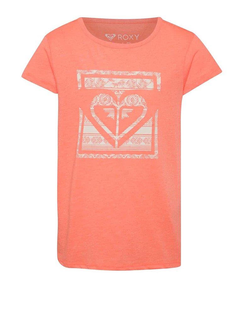 Neonově oranžové holčičí tričko s potiskem Roxy Galaxy