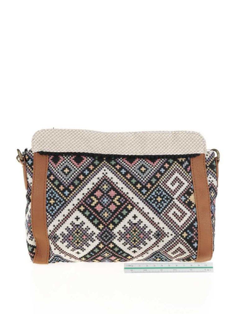 Hnědo-krémová vzorovaná crossbody kabelka Roxy Folk Caramba
