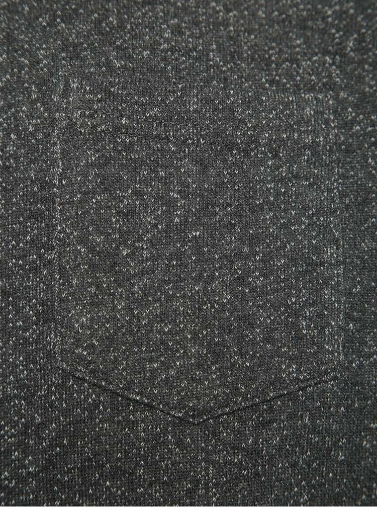Bluză gri melanj cu buzunar Blend