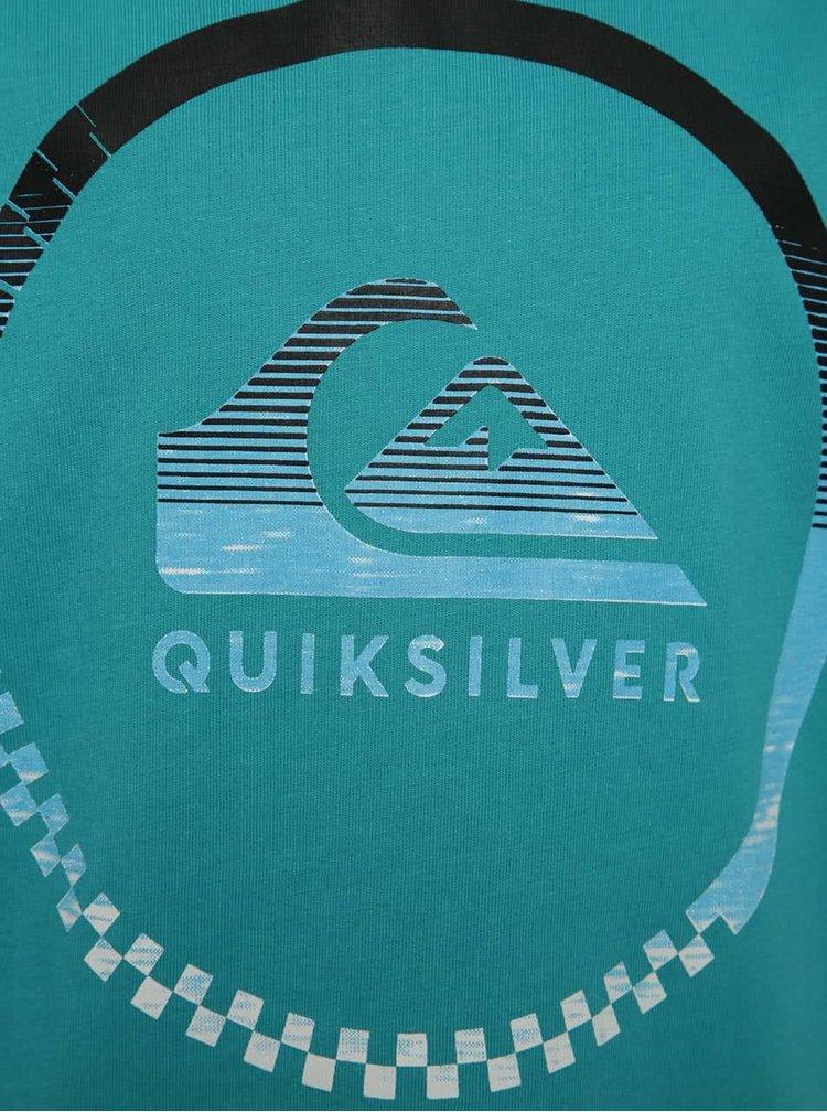 Tricou verde cu print Quiksilver de baieti