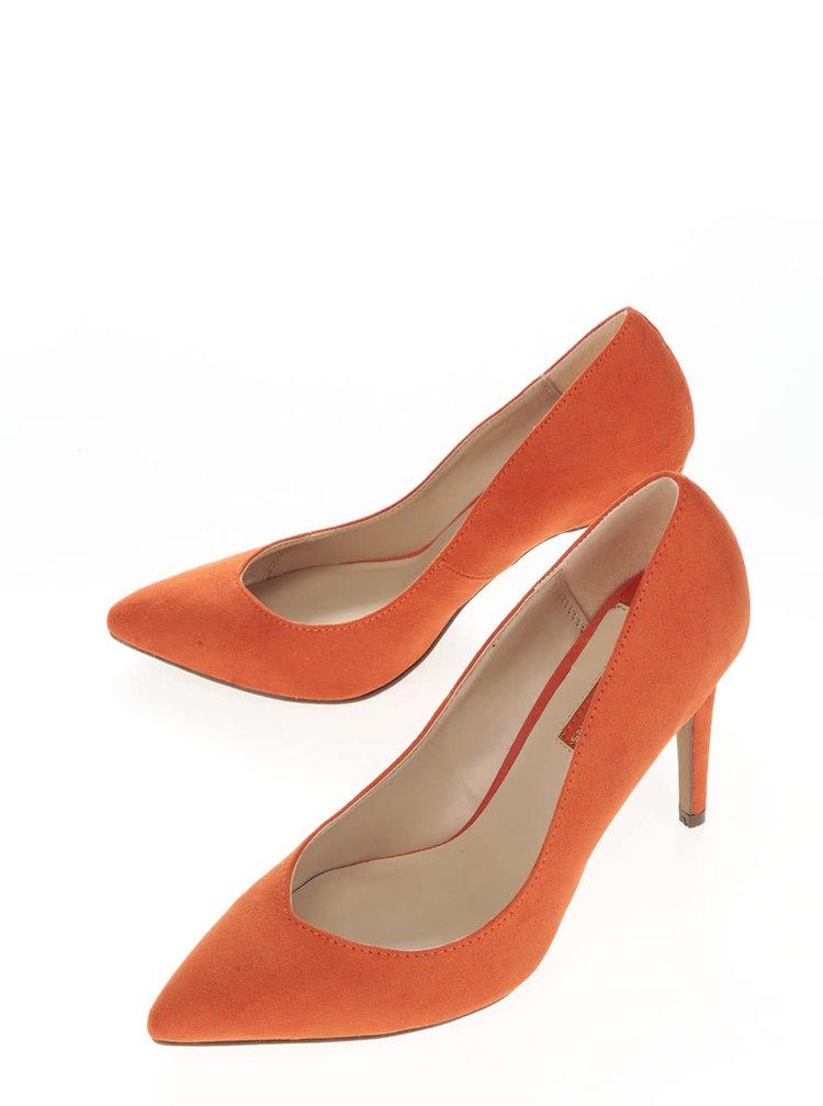 Pantofi stiletto portocalii cu aspect de piele intoarsa Dorothy Perkins