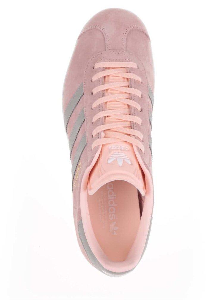 Pantofi sport roz pal adidas Originals Gazelle din piele