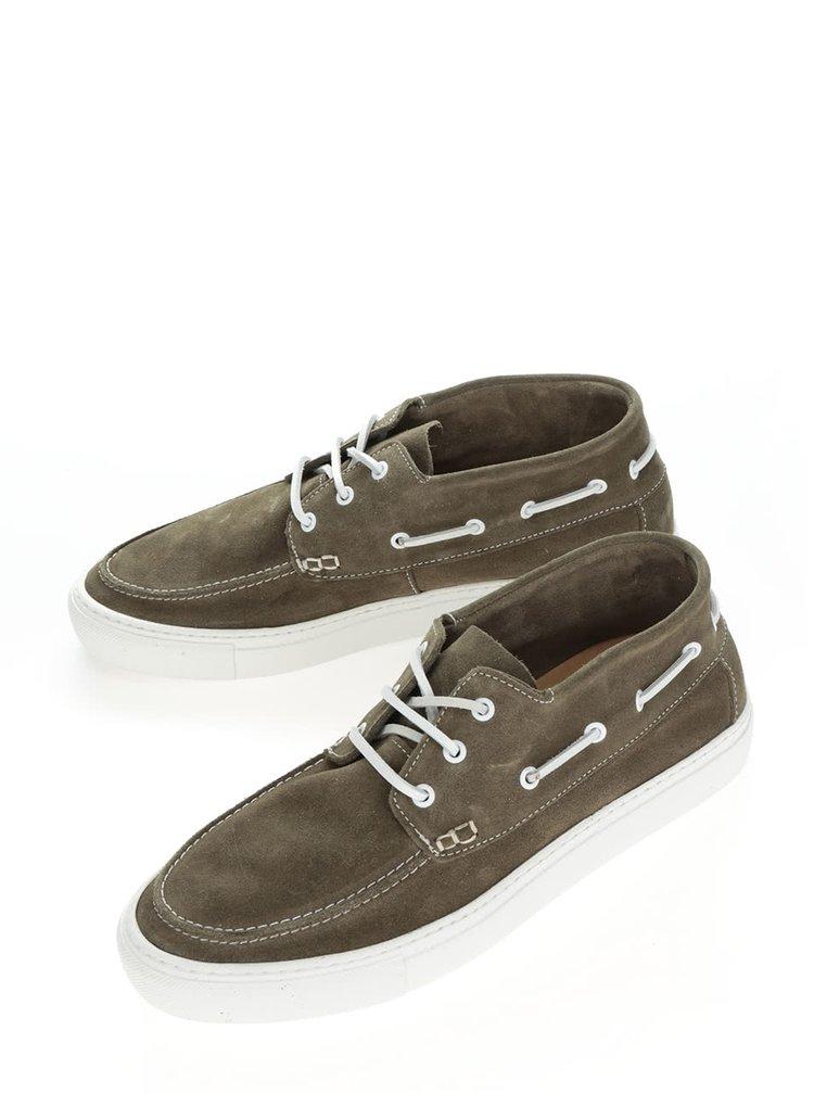 Pantofi verde olive Selected Homme August din piele întoarsă
