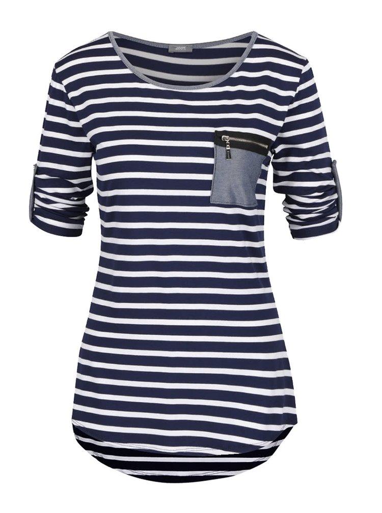 Krémovo-modré pruhované tričko s kapsou ZOOT