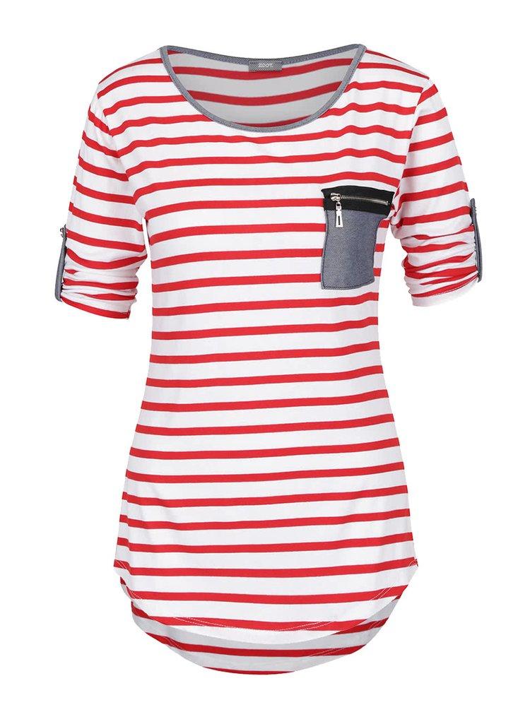 Bluza crem&rosu ZOOT cu model in dungi si maneci ajustabile