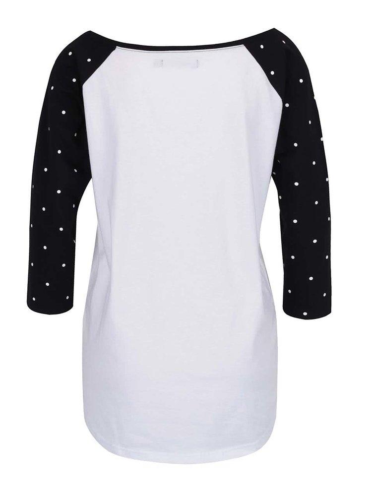 Bluza alb cu negru Horsefeathers Justine cu print