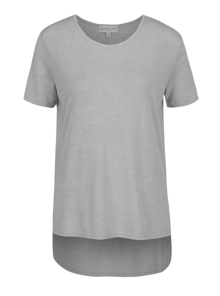 Svetlosivé tričko s predĺženým zadným dielom Apricot
