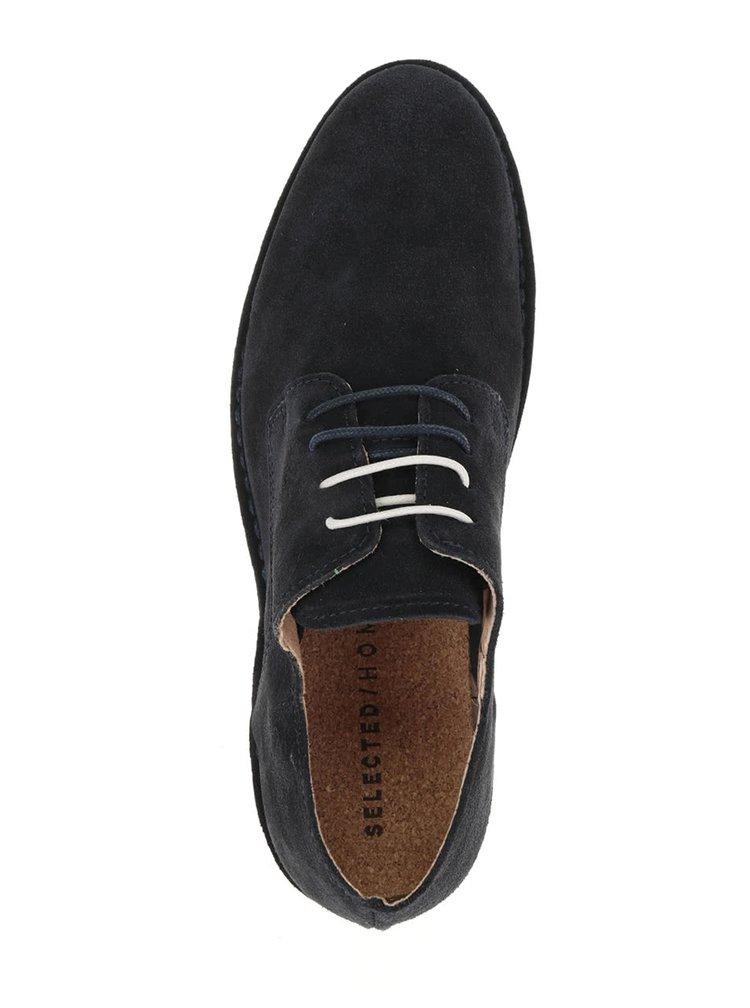 Pantofi albastru închis Selected Homme Royce din piele întoarsă