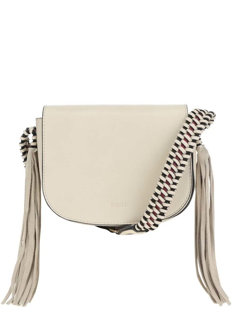 Krémová crossbody kabelka s koženými detaily Nalí