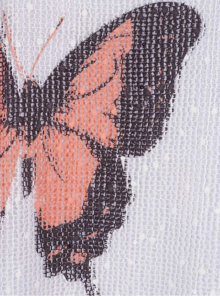 Krémový volný top s motivem motýlů Apricot