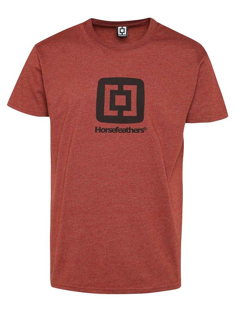 Tricou roșu închis Horsefeathers Fair cu logo