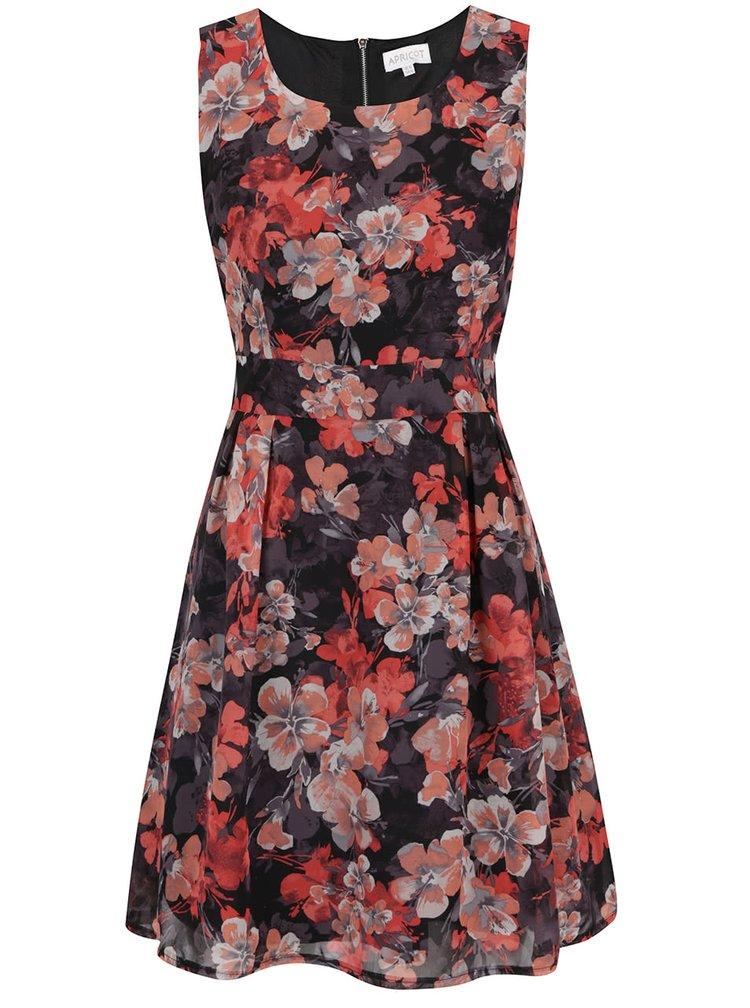 Rochie rosu & negru Apricot cu model floral