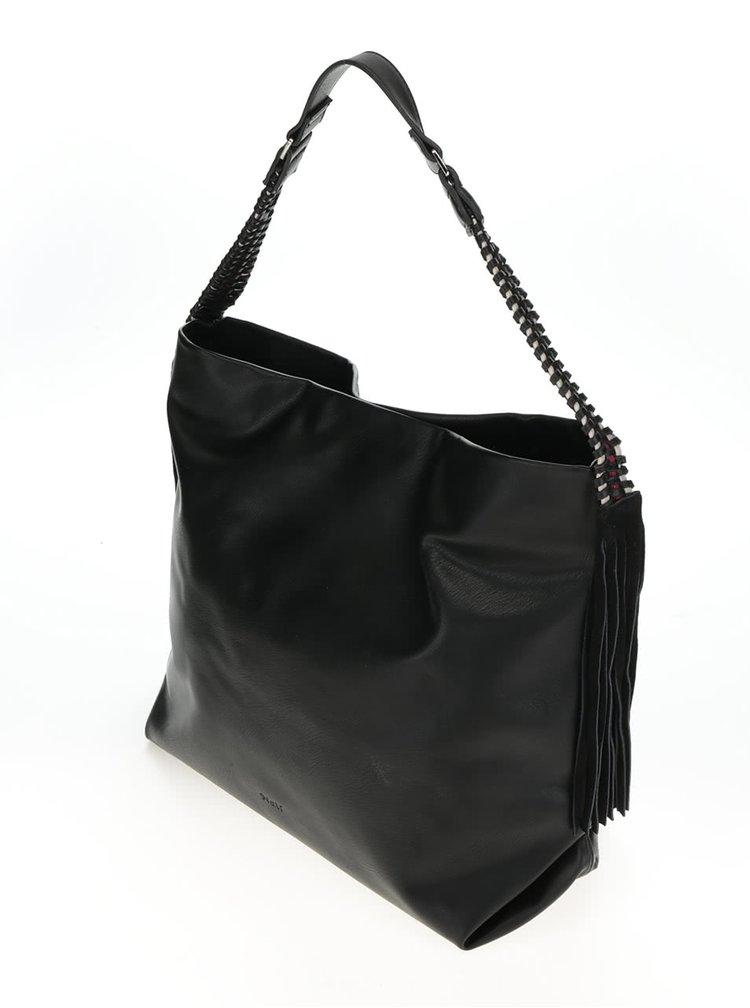 Černý shopper s koženými detaily Nalí
