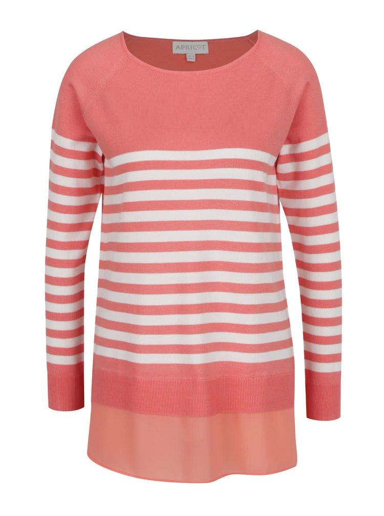 Růžový pruhovaný svetr s všitou halenkou Apricot