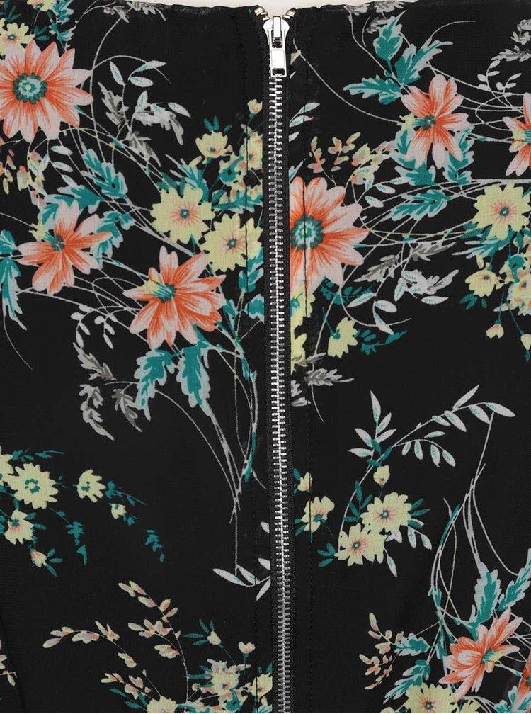 Černé květované šaty bez rukávů Apricot