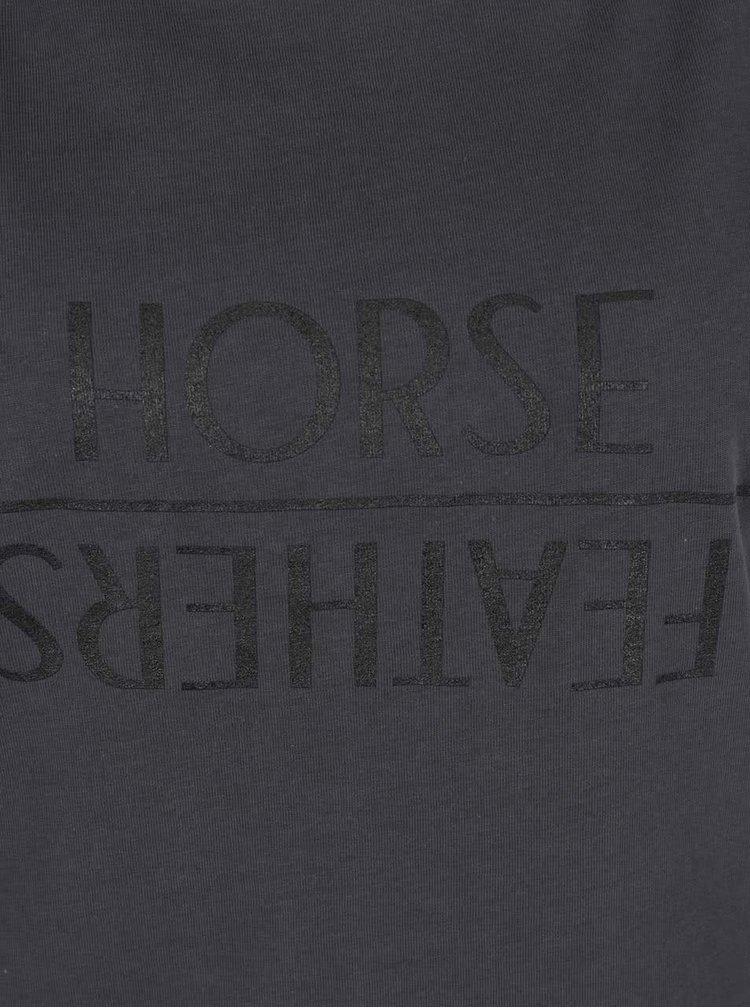 Tricou gri închis Horsefeathers Desiree cu print