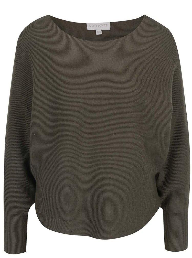 Khaki svetr s netopýřími rukávy Apricot