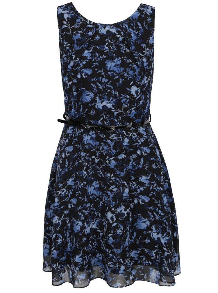 Černé květované šaty s tenkým páskem Apricot