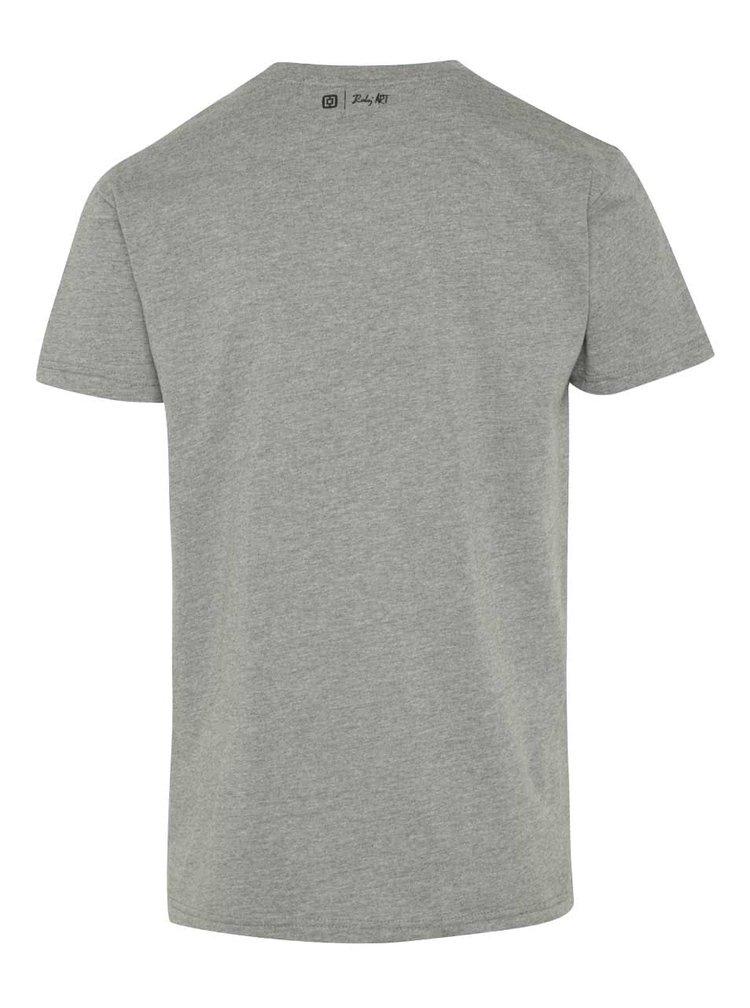 Tricou gri Horsefeathers Palette cu print
