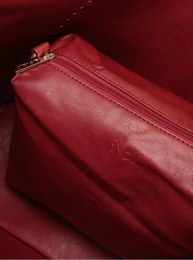Červeno-béžový velký oboustranný shopper s pouzdrem 2v1 Nalí