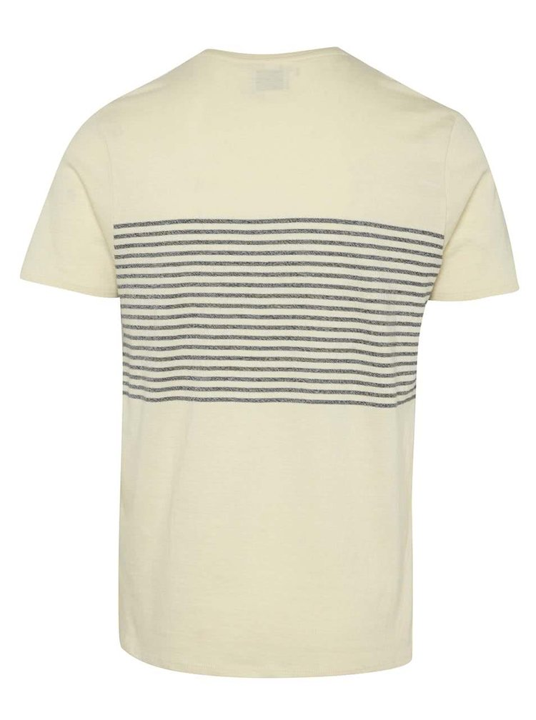 Tricou crem melanj Selected Homme Jack din bumbac cu model in dungi