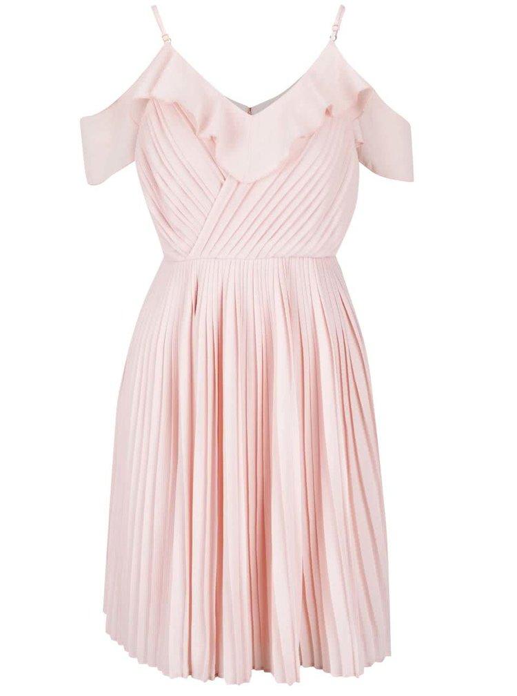 Světle růžové plisované šaty Wolf & Whistle