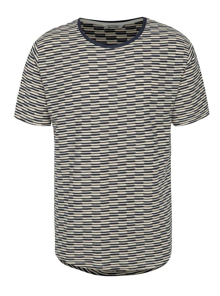 Béžovo-modré pruhované triko ONLY & SONS Thyge