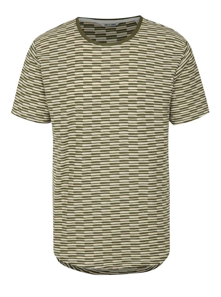 Béžovo-zelené pruhované triko ONLY & SONS Thyge