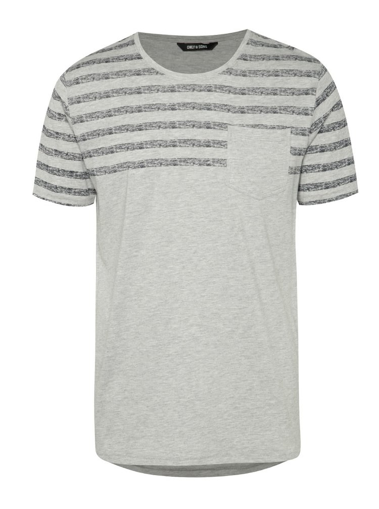 Tricou gri cu dungi ONLY & SONS Peterson
