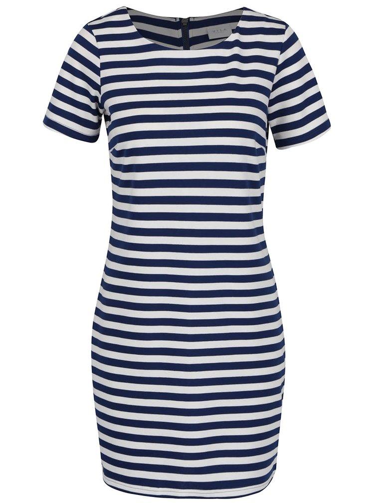 Krémovo-modré pruhované šaty VILA Tinny