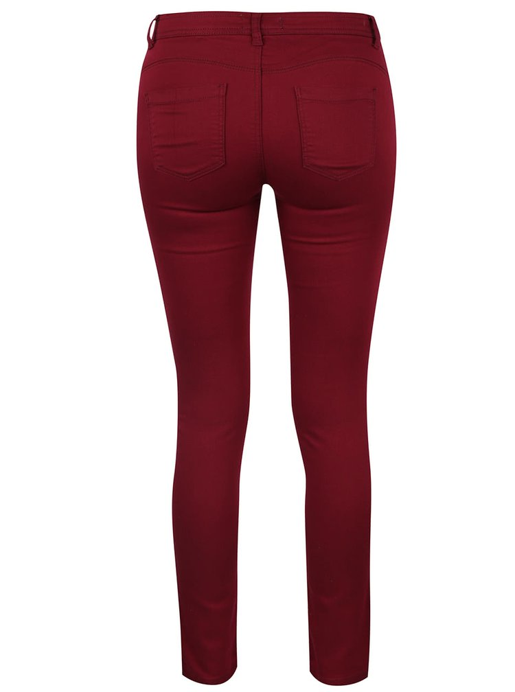 Vínové elastické push up skinny džíny s nízkým pasem TALLY WEiJL