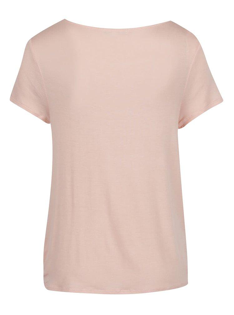 Tricou roz pal TALLY WEiJL cu nod decorativ