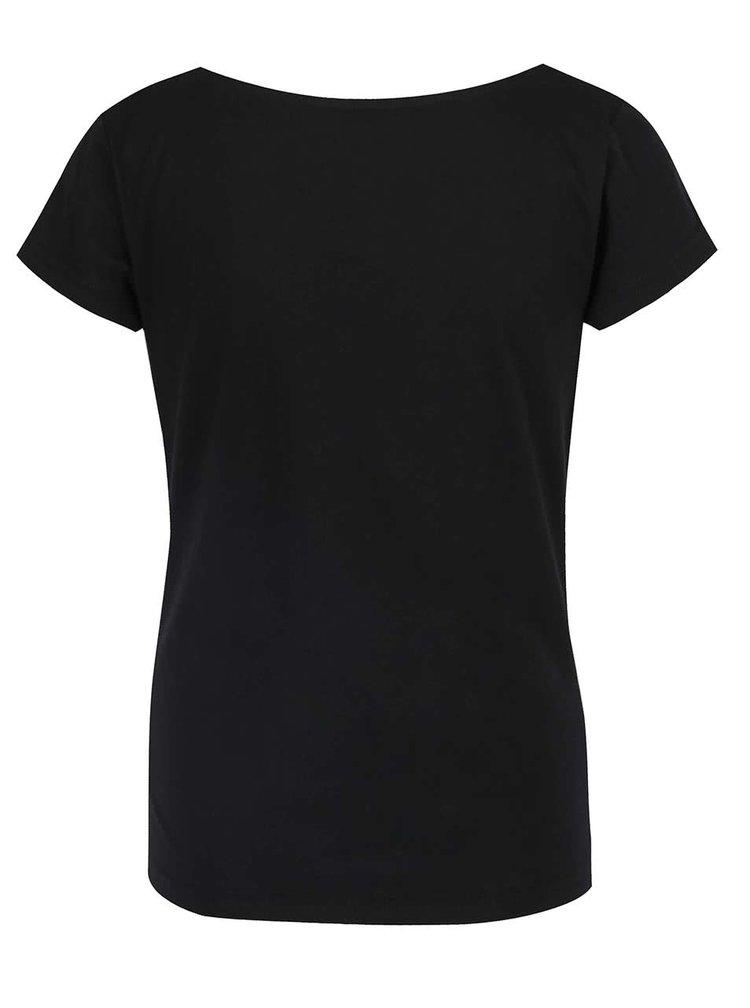 Černé tričko s vodou ve výstřihu Skunkfunk