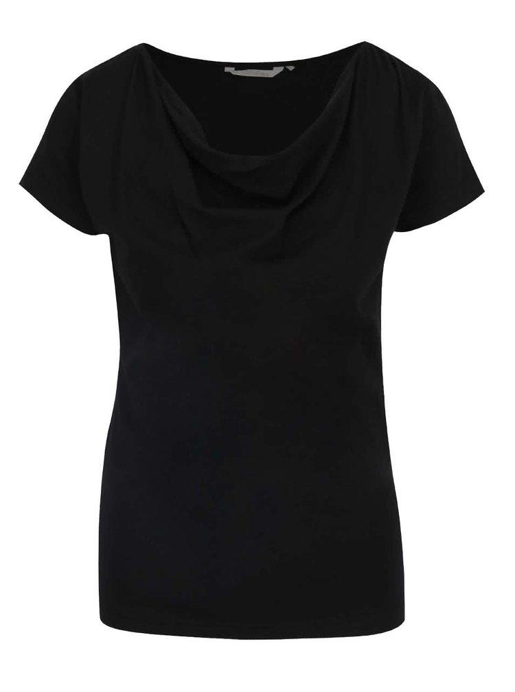 Tricou negru Skunkfunk cu decolteu căzut