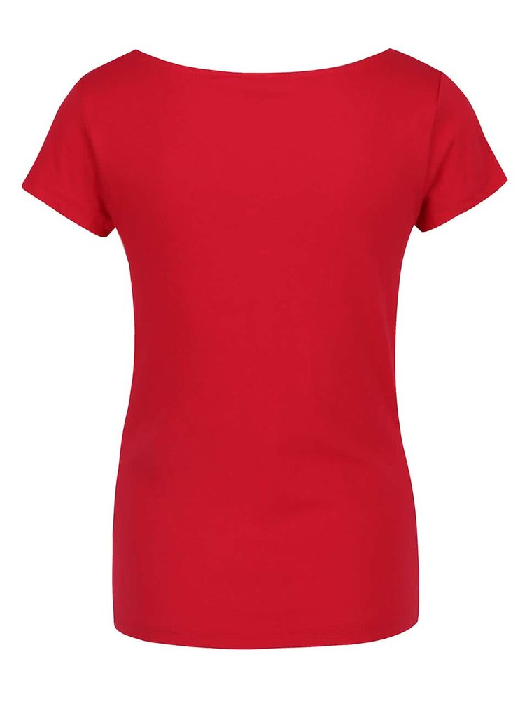 Červené tričko s vodovým výstřihem Skunkfunk