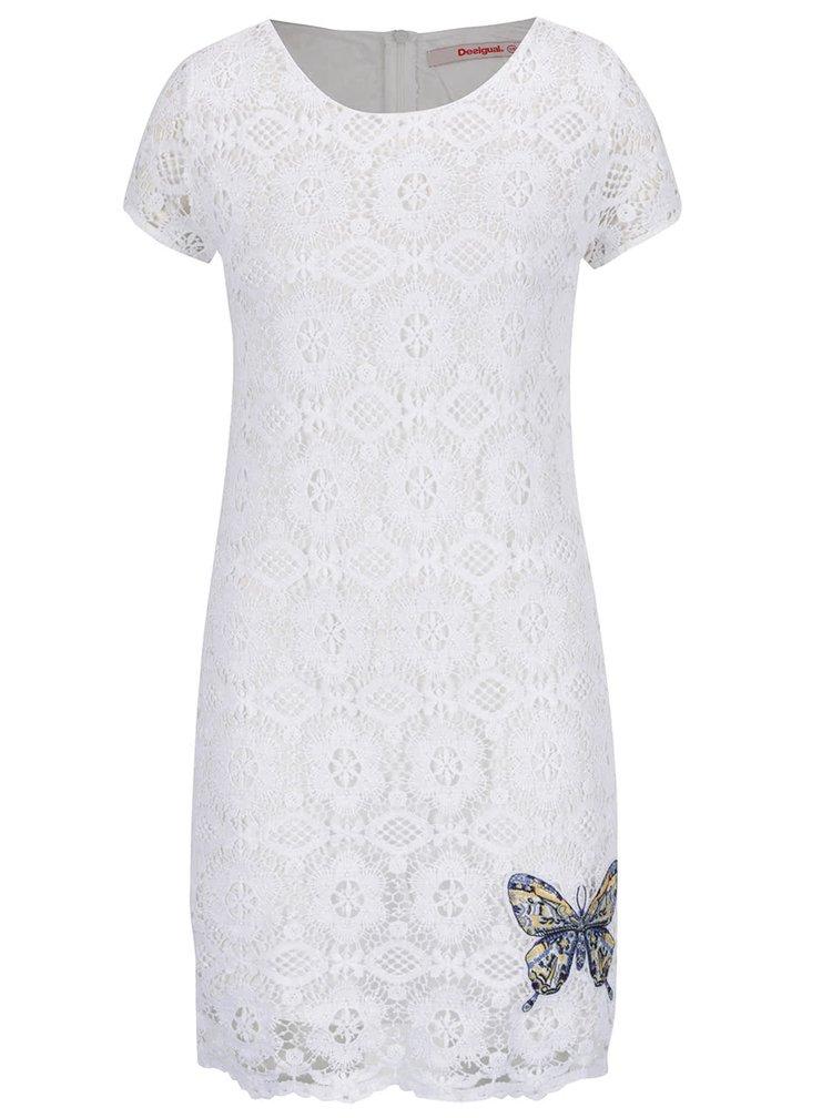 Bílé krajkové šaty s nášivkou Desigual Cadaqués