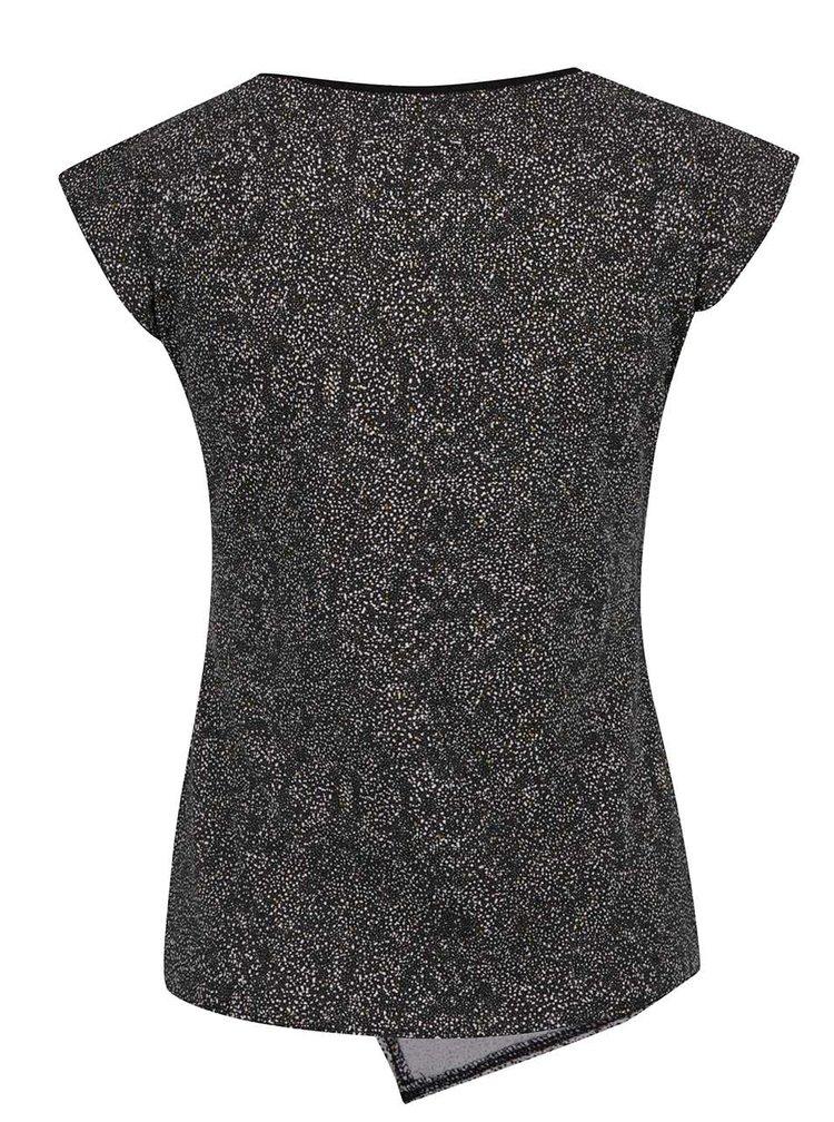 Černé vzorované tričko s překládaným předním dílem Skunkfunk