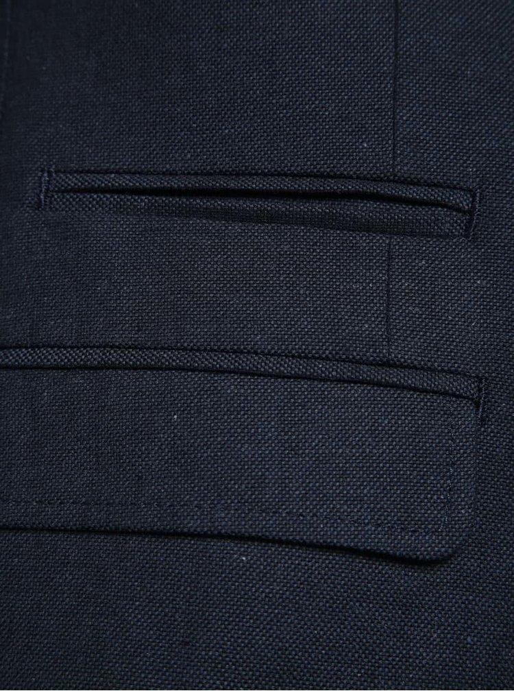 Tmavě modré neformální lněné sako Selected Homme Abone-DB