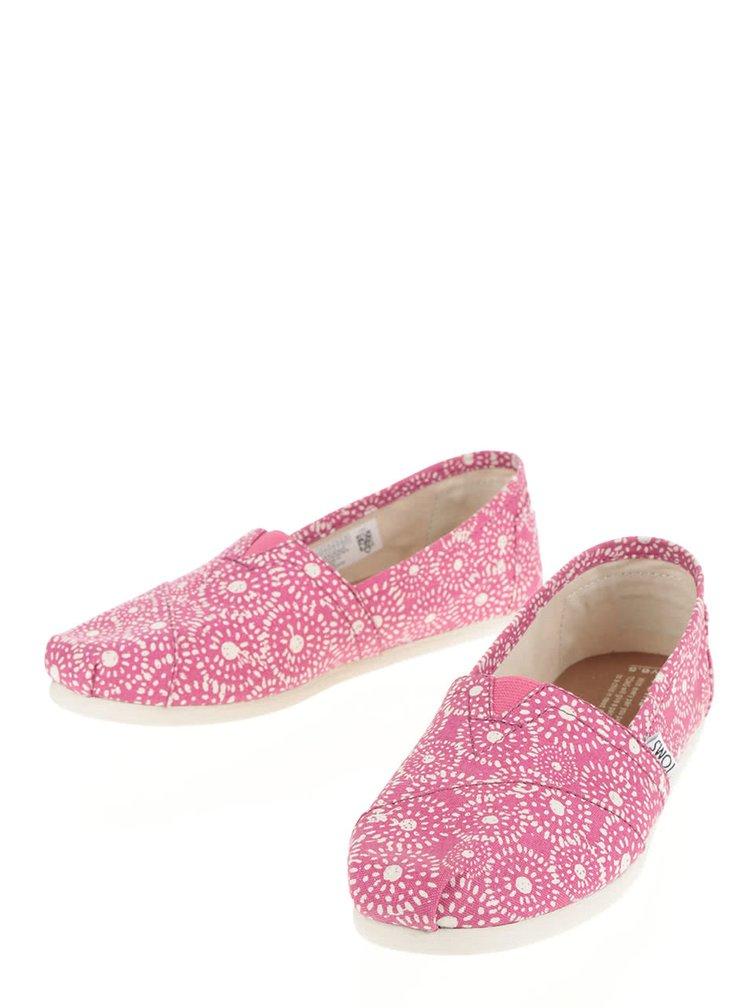 Růžové dámské vzorované slip on TOMS