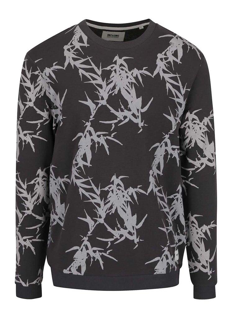 Bluza gri inchis cu imprimeu ONLY & SONS Stone