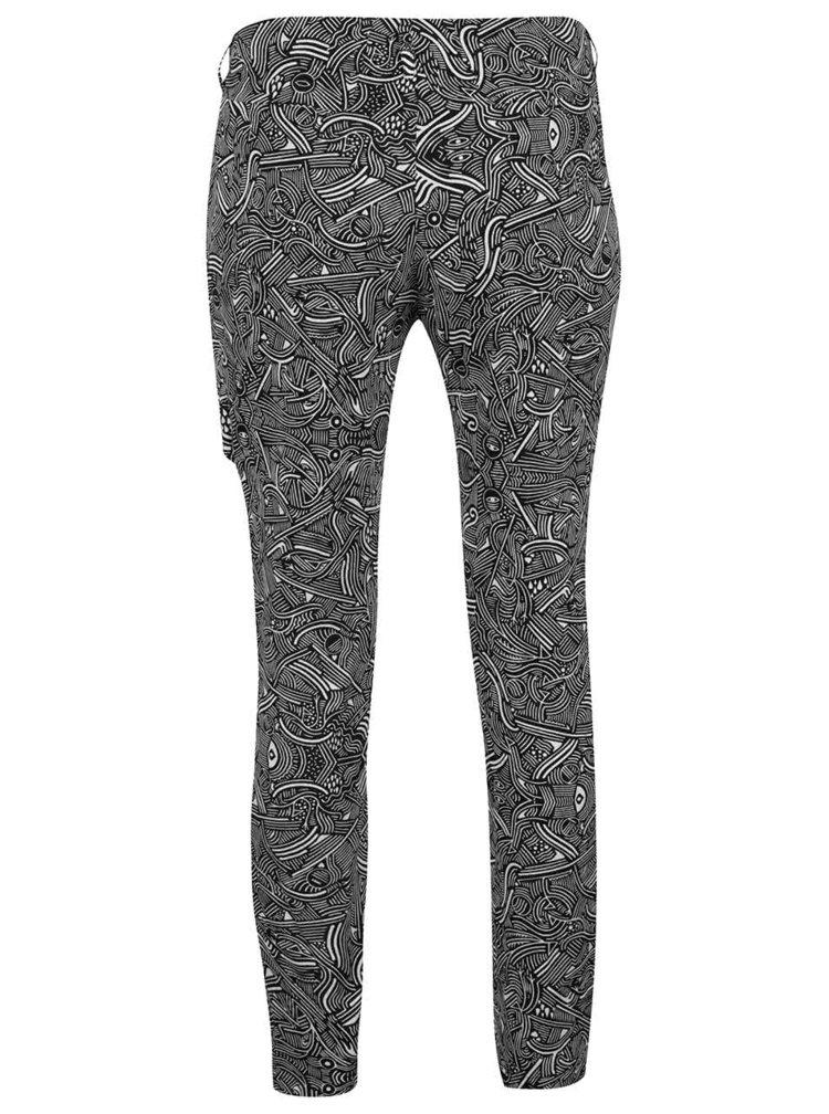Krémovo-černé vzorované kalhoty s přezkou Skunkfunk