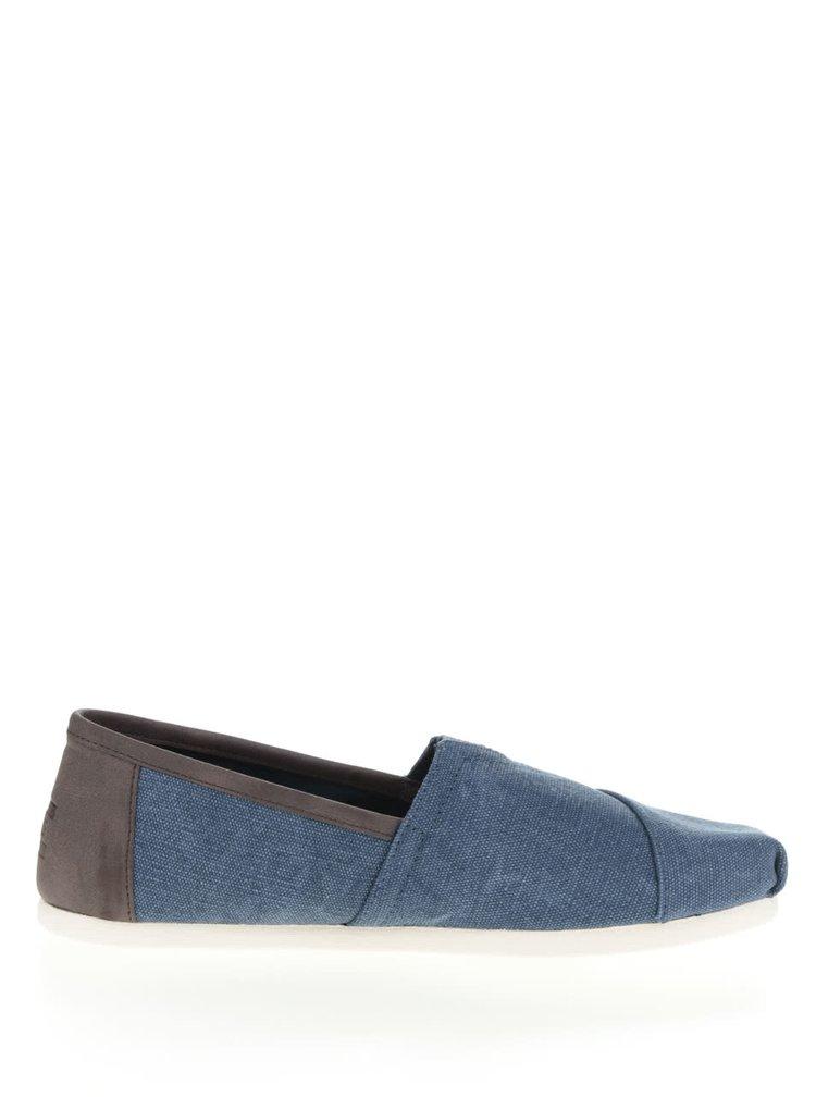 Tmavě modré pánské loafers s hnědými detaily TOMS